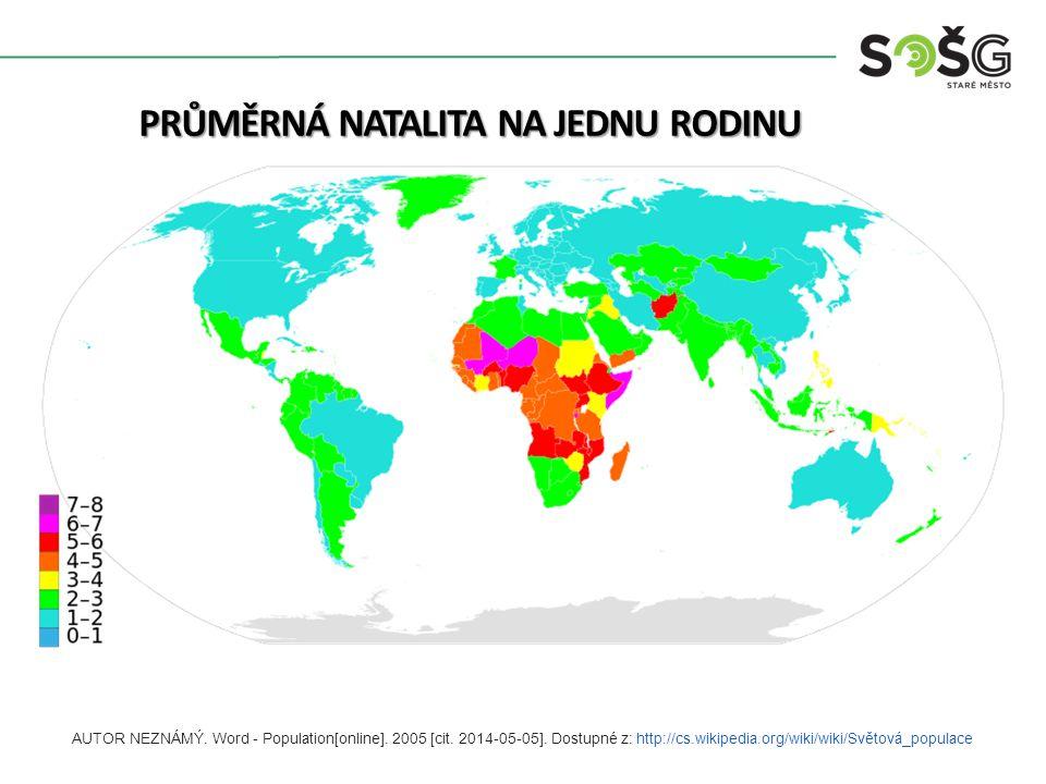 PRŮMĚRNÁ NATALITA NA JEDNU RODINU AUTOR NEZNÁMÝ. Word - Population[online]. 2005 [cit. 2014-05-05]. Dostupné z: http://cs.wikipedia.org/wiki/wiki/Svět