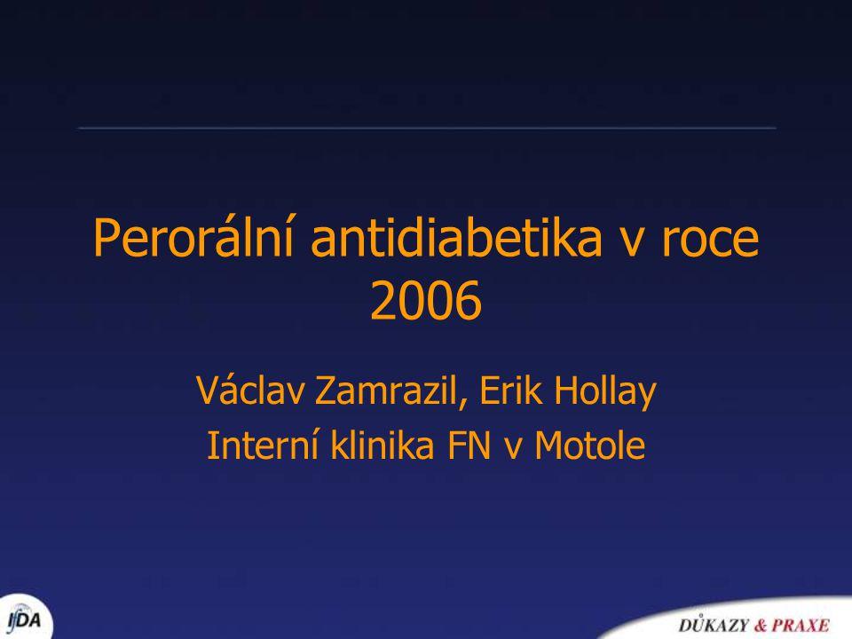 Algoritmus léčby 1.Životní styl + metformin (současně !) kontraindikace – titrace 1-2 měsíce – další medikace za 2-3 měsíce 2.Inzulín nebo sulfonylurea nebo glitazony ( nejúčinnější) (nejlevnější) (bez hypoglykemie) 3.Intenzifikovaný inzulínový režim + metformin +/- glitazon * doporučení ADA + EASD červen 2006