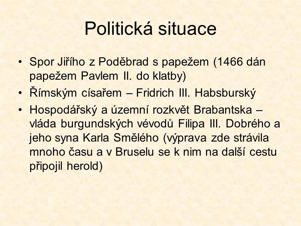 Politická situace Spor Jiřího z Poděbrad s papežem (1466 dán papežem Pavlem II. do klatby) Římským císařem – Fridrich III. Habsburský Hospodářský a úz