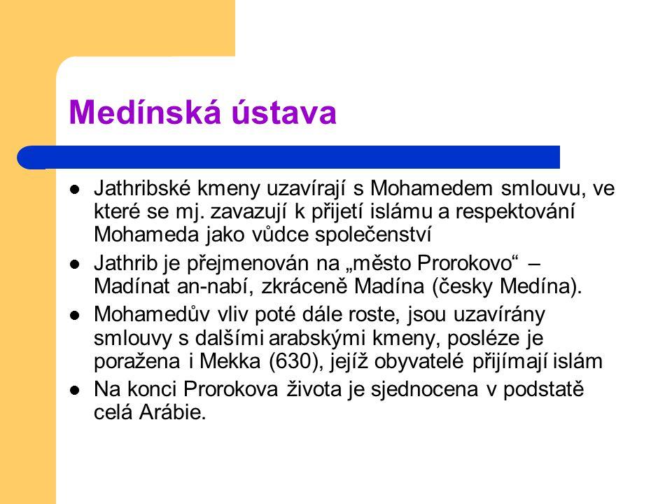 Medínská ústava Jathribské kmeny uzavírají s Mohamedem smlouvu, ve které se mj.