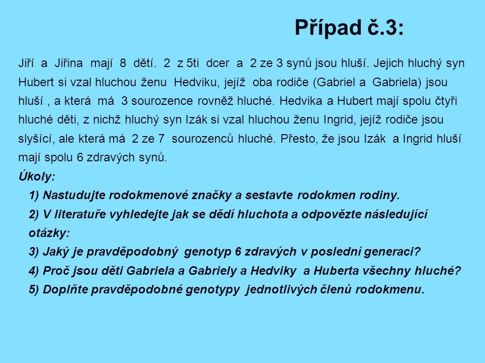 Případ č.3: Jiří a Jiřina mají 8 dětí.2 z 5ti dcer a 2 ze 3 synů jsou hluší.