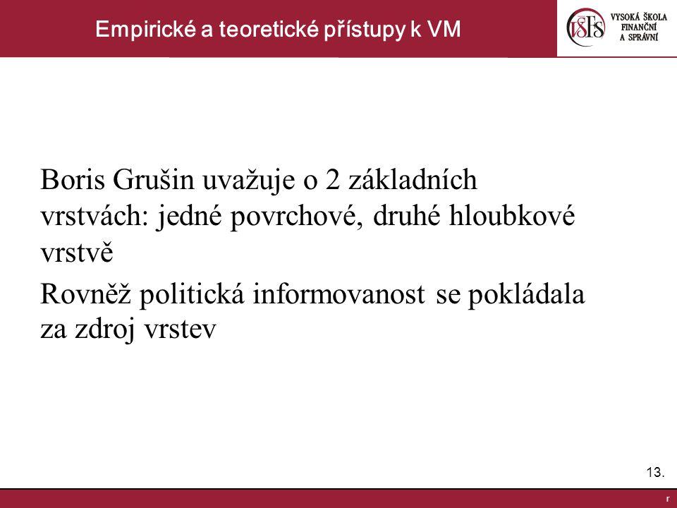 13. r Empirické a teoretické přístupy k VM Boris Grušin uvažuje o 2 základních vrstvách: jedné povrchové, druhé hloubkové vrstvě Rovněž politická info