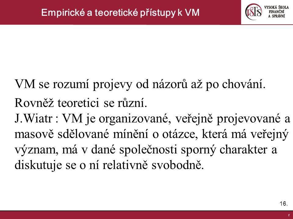 16. r Empirické a teoretické přístupy k VM VM se rozumí projevy od názorů až po chování. Rovněž teoretici se různí. J.Wiatr : VM je organizované, veře