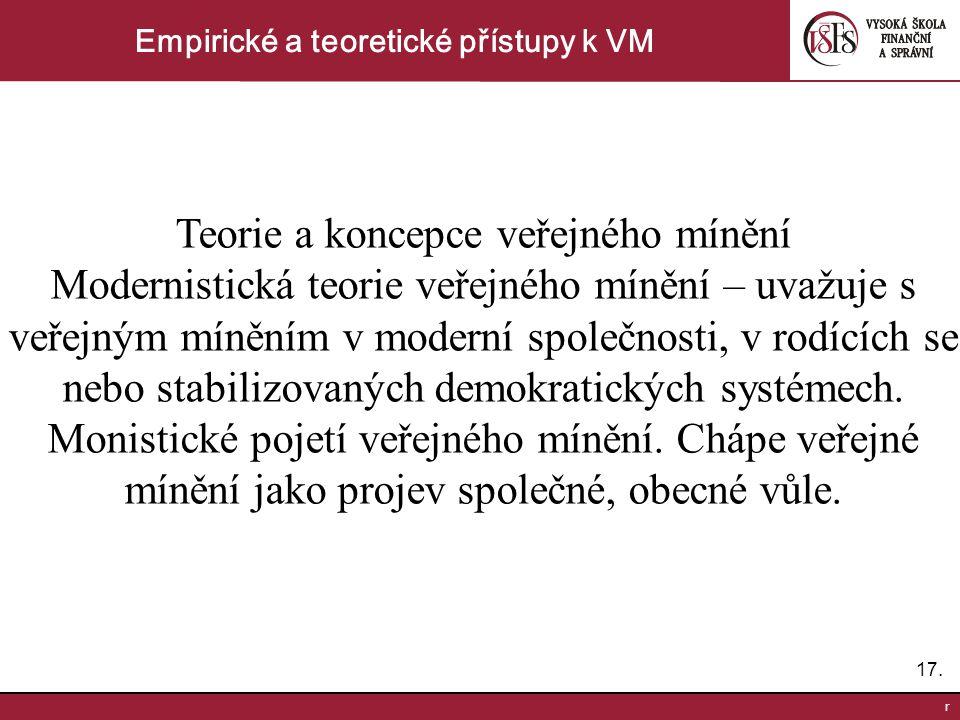 17. r Empirické a teoretické přístupy k VM Teorie a koncepce veřejného mínění Modernistická teorie veřejného mínění – uvažuje s veřejným míněním v mod