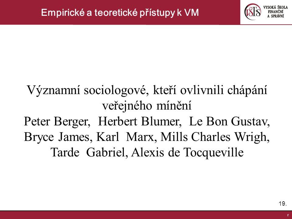 19. r Empirické a teoretické přístupy k VM Významní sociologové, kteří ovlivnili chápání veřejného mínění Peter Berger, Herbert Blumer, Le Bon Gustav,