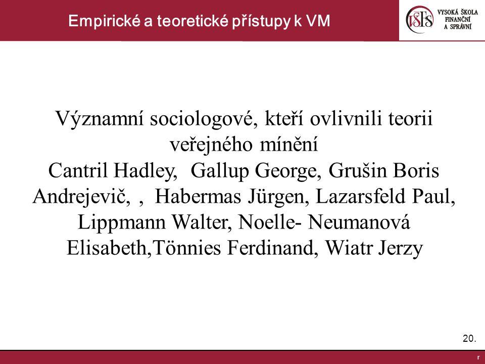 20. r Empirické a teoretické přístupy k VM Významní sociologové, kteří ovlivnili teorii veřejného mínění Cantril Hadley, Gallup George, Grušin Boris A