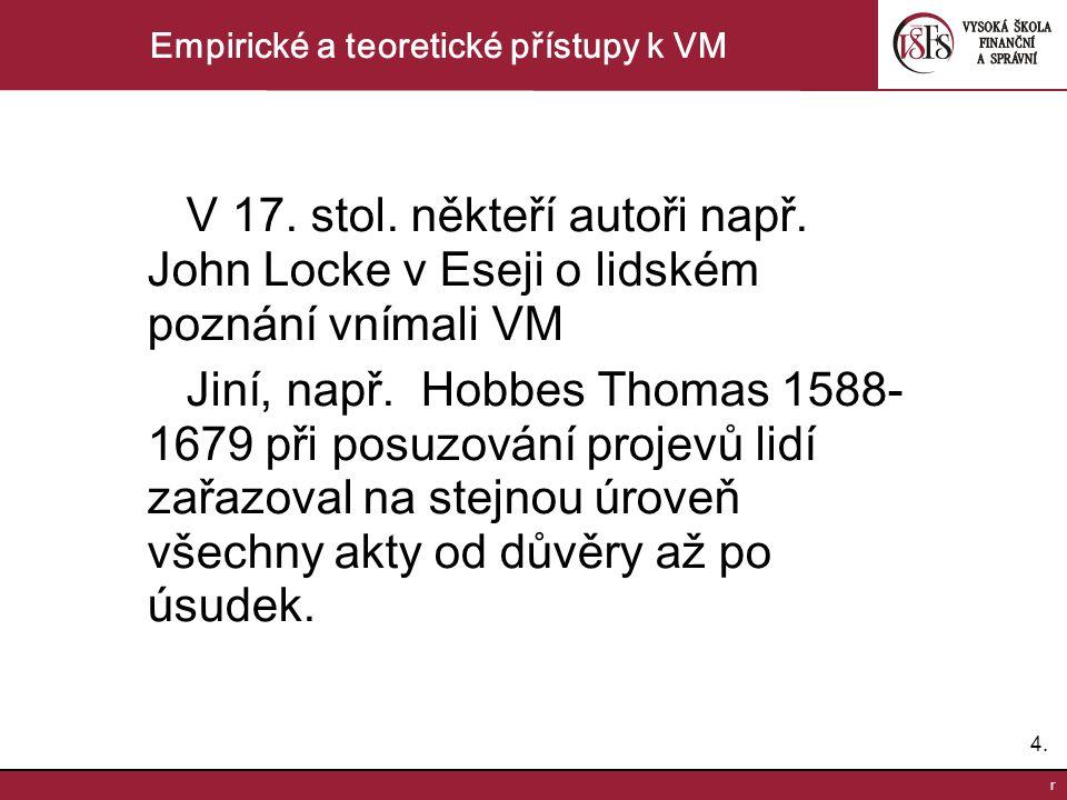 4.4. r Empirické a teoretické přístupy k VM V 17. stol. někteří autoři např. John Locke v Eseji o lidském poznání vnímali VM Jiní, např. Hobbes Thomas