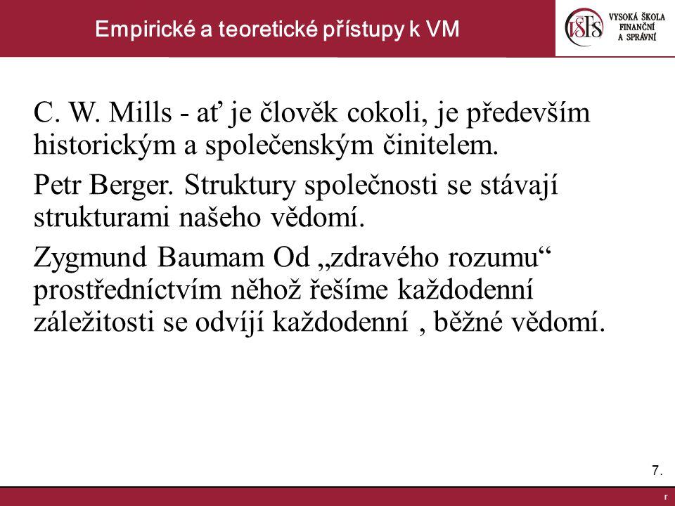 7.7. r Empirické a teoretické přístupy k VM C. W. Mills - ať je člověk cokoli, je především historickým a společenským činitelem. Petr Berger. Struktu