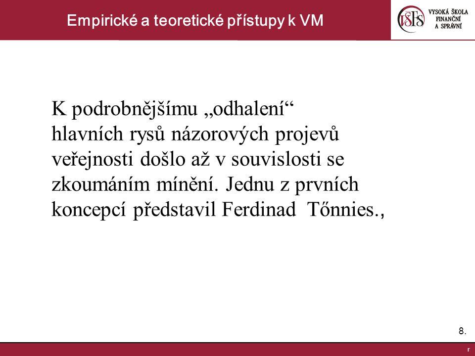 """8.8. r Empirické a teoretické přístupy k VM K podrobnějšímu """"odhalení"""" hlavních rysů názorových projevů veřejnosti došlo až v souvislosti se zkoumáním"""