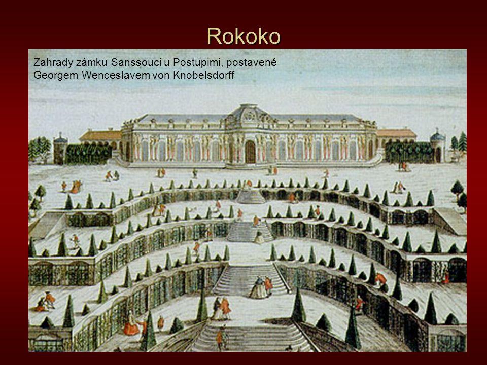 Rokoko Zahrady zámku Sanssouci u Postupimi, postavené Georgem Wenceslavem von Knobelsdorff
