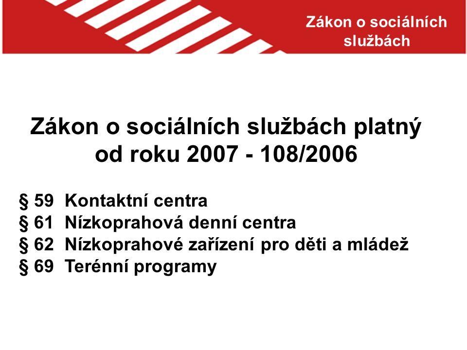 Zákon o sociálních službách platný od roku 2007 - 108/2006 § 59 Kontaktní centra § 61 Nízkoprahová denní centra § 62 Nízkoprahové zařízení pro děti a mládež § 69 Terénní programy Zákon o sociálních službách