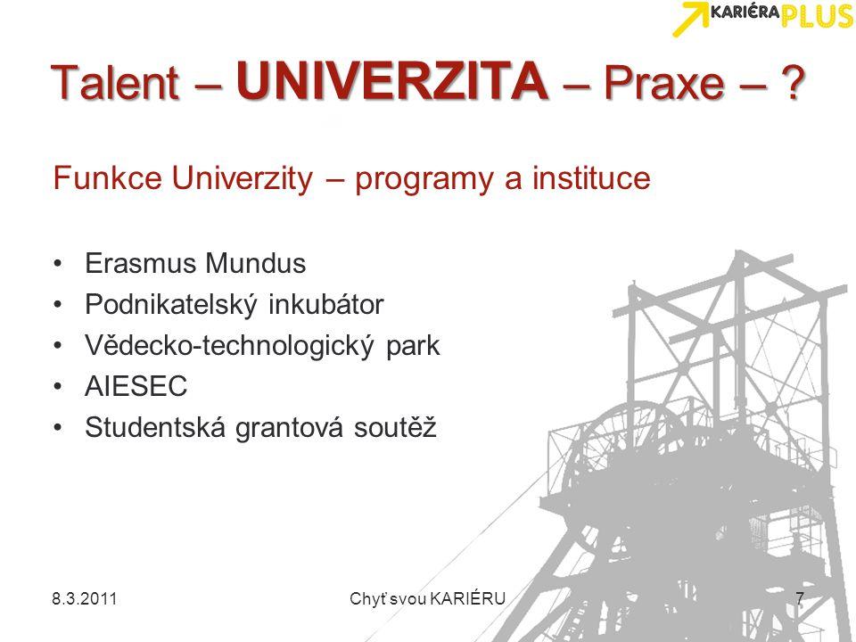 Talent – UNIVERZITA – Praxe – ? Funkce Univerzity – programy a instituce Erasmus Mundus Podnikatelský inkubátor Vědecko-technologický park AIESEC Stud