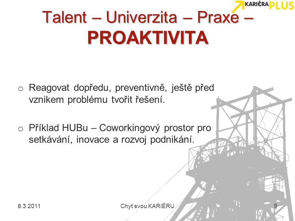 Talent – Univerzita – Praxe – PROAKTIVITA o Reagovat dopředu, preventivně, ještě před vznikem problému tvořit řešení. o Příklad HUBu – Coworkingový pr