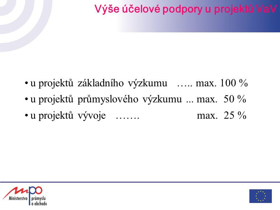 u projektů základního výzkumu ….. max. 100 % u projektů průmyslového výzkumu... max. 50 % u projektů vývoje ……. max. 25 % Výše účelové podpory u proje