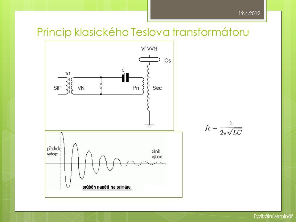Princip klasického Teslova transformátoru 19.4.2012 Fyzikální seminář
