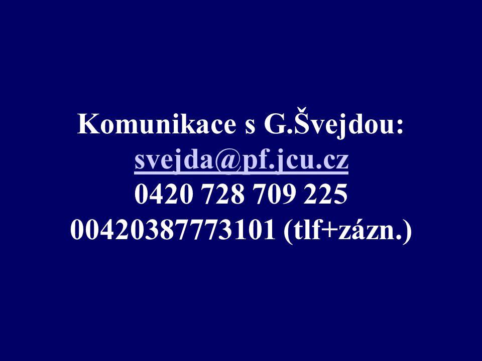 Komunikace s G.Švejdou: svejda@pf.jcu.cz 0420 728 709 225 00420387773101 (tlf+zázn.) svejda@pf.jcu.cz