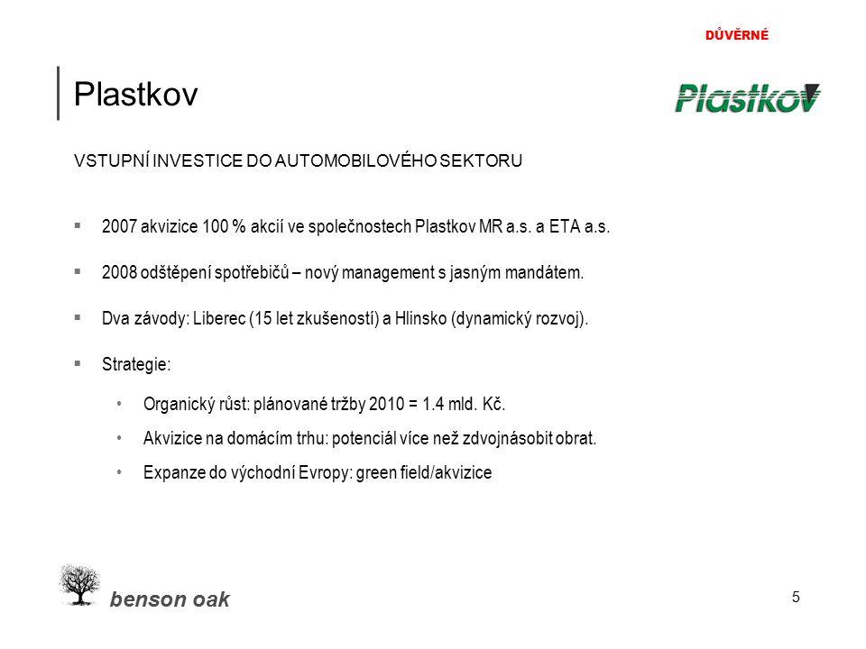 DŮVĚRNÉ benson oak 5 Plastkov  2007 akvizice 100 % akcií ve společnostech Plastkov MR a.s. a ETA a.s.  2008 odštěpení spotřebičů – nový management s
