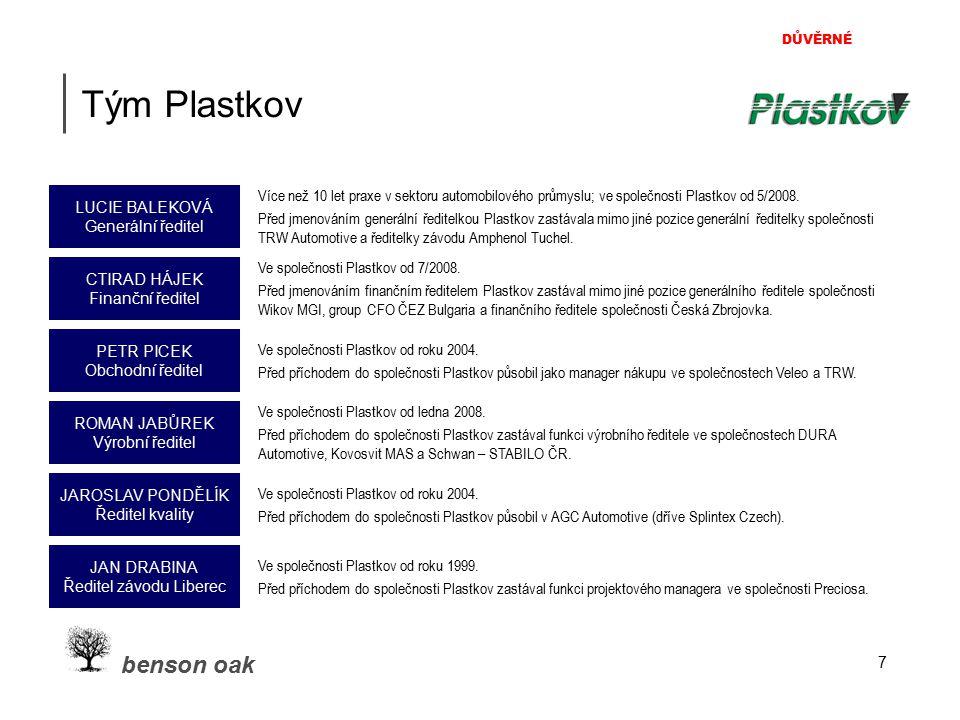 DŮVĚRNÉ benson oak 7 Tým Plastkov Více než 10 let praxe v sektoru automobilového průmyslu; ve společnosti Plastkov od 5/2008. Před jmenováním generáln