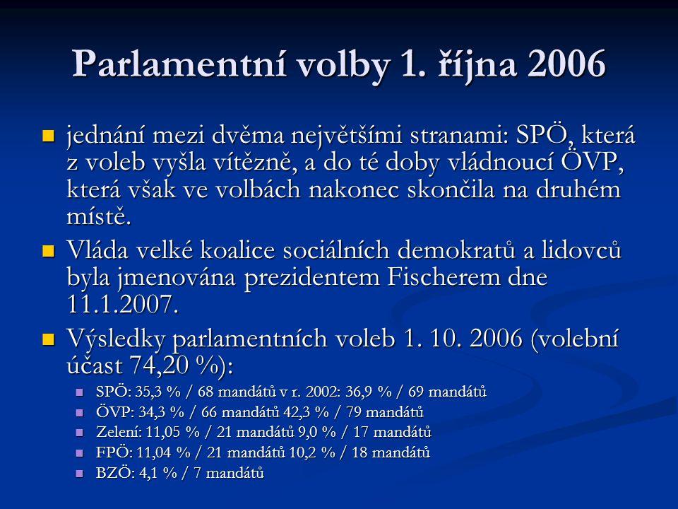 Parlamentní volby 1. října 2006 jednání mezi dvěma největšími stranami: SPÖ, která z voleb vyšla vítězně, a do té doby vládnoucí ÖVP, která však ve vo