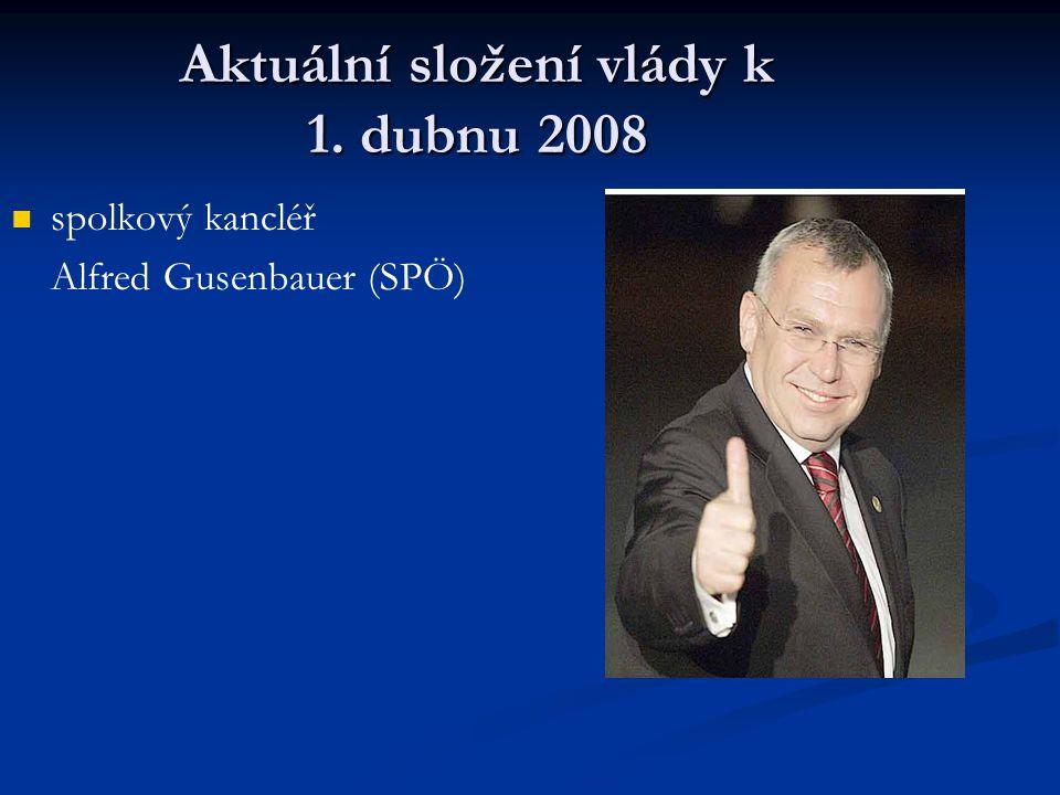 Aktuální složení vlády k 1. dubnu 2008 spolkový kancléř Alfred Gusenbauer (SPÖ)