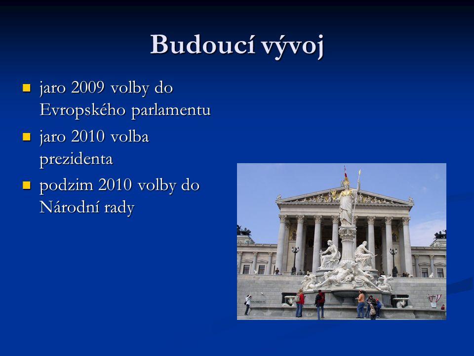 Budoucí vývoj jaro 2009 volby do Evropského parlamentu jaro 2010 volba prezidenta podzim 2010 volby do Národní rady