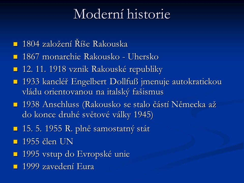 Moderní historie 1804 založení Říše Rakouska 1804 založení Říše Rakouska 1867 monarchie Rakousko - Uhersko 1867 monarchie Rakousko - Uhersko 12. 11. 1