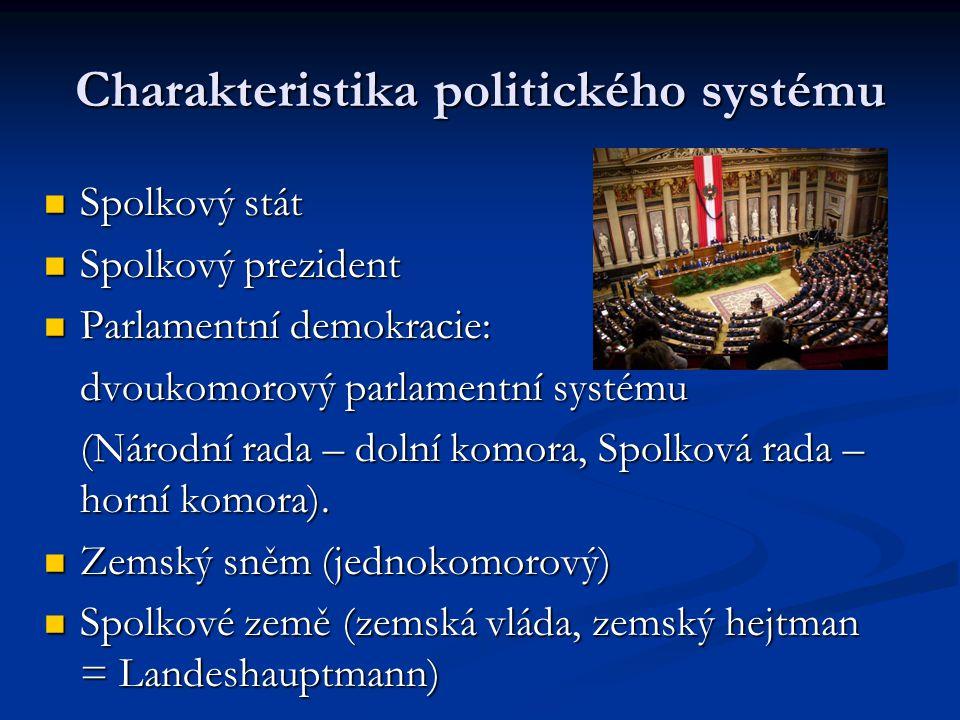 Charakteristika politického systému Spolkový stát Spolkový prezident Parlamentní demokracie: dvoukomorový parlamentní systému (Národní rada – dolní ko