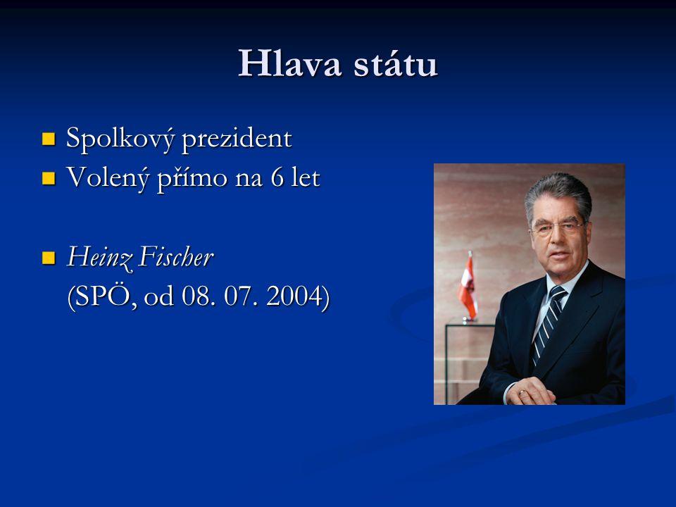 Hlava státu Spolkový prezident Spolkový prezident Volený přímo na 6 let Volený přímo na 6 let Heinz Fischer Heinz Fischer (SPÖ, od 08. 07. 2004)