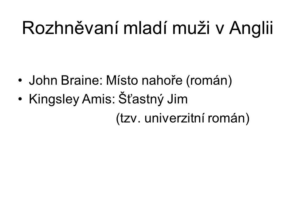 Rozhněvaní mladí muži v Anglii John Braine: Místo nahoře (román) Kingsley Amis: Šťastný Jim (tzv. univerzitní román)