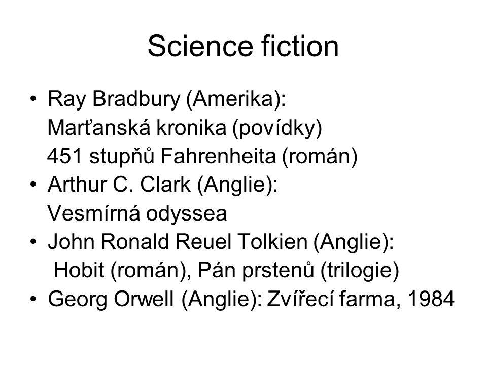 Science fiction Ray Bradbury (Amerika): Marťanská kronika (povídky) 451 stupňů Fahrenheita (román) Arthur C. Clark (Anglie): Vesmírná odyssea John Ron