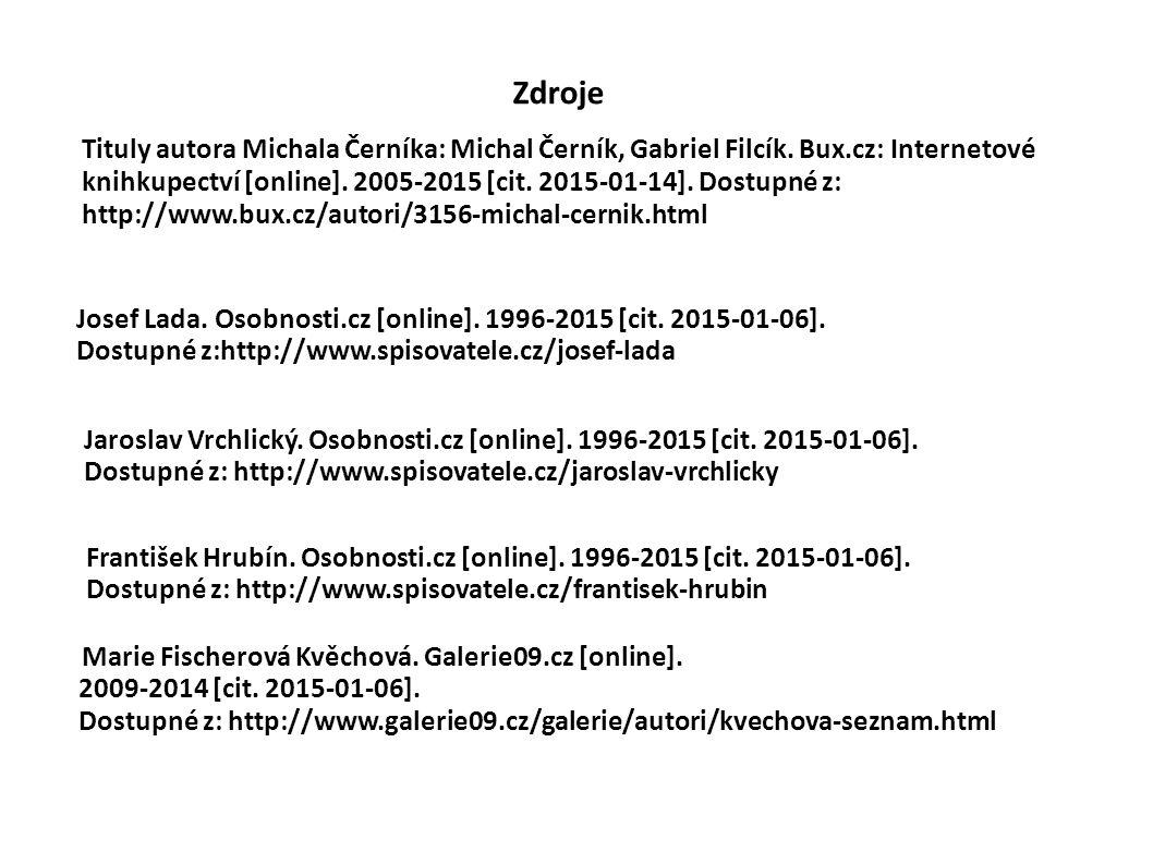 Zdroje Tituly autora Michala Černíka: Michal Černík, Gabriel Filcík.