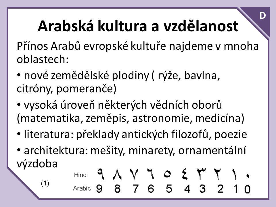 D Arabská kultura a vzdělanost Přínos Arabů evropské kultuře najdeme v mnoha oblastech: nové zemědělské plodiny ( rýže, bavlna, citróny, pomeranče) vysoká úroveň některých vědních oborů (matematika, zeměpis, astronomie, medicína) literatura: překlady antických filozofů, poezie architektura: mešity, minarety, ornamentální výzdoba (1)
