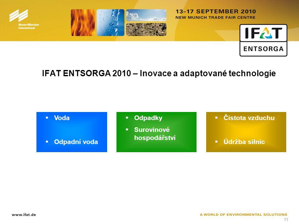 11 IFAT ENTSORGA 2010 – Inovace a adaptované technologie  Voda  Odpadní voda  Odpadky  Surovinové hospodářství  Čistota vzduchu  Údržba silnic