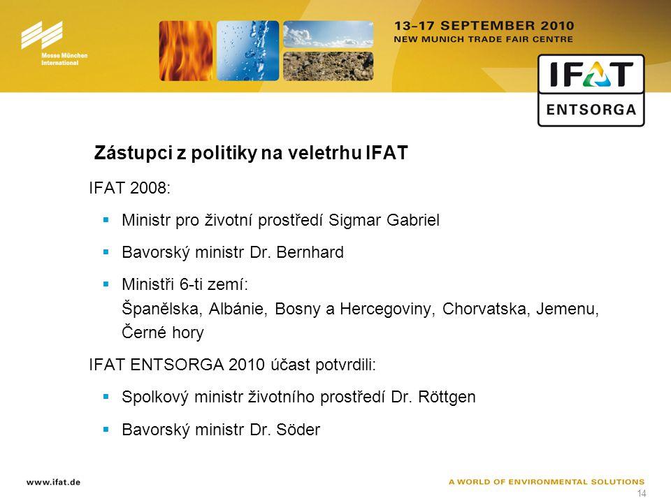 14 Zástupci z politiky na veletrhu IFAT IFAT 2008:  Ministr pro životní prostředí Sigmar Gabriel  Bavorský ministr Dr.
