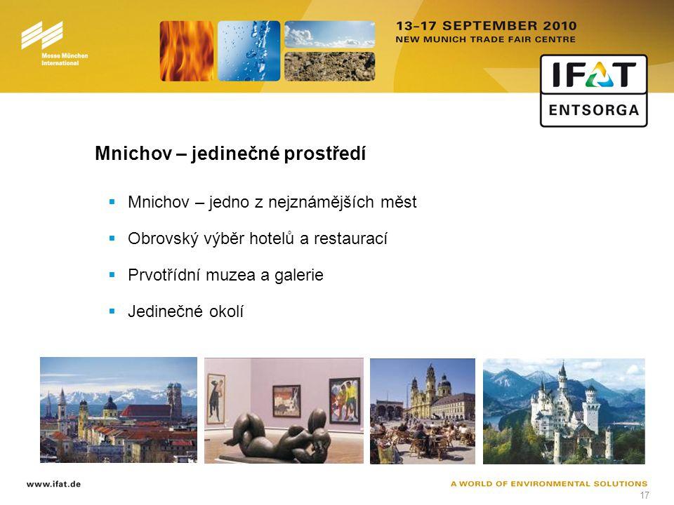 17 Mnichov – jedinečné prostředí  Mnichov – jedno z nejznámějších měst  Obrovský výběr hotelů a restaurací  Prvotřídní muzea a galerie  Jedinečné okolí