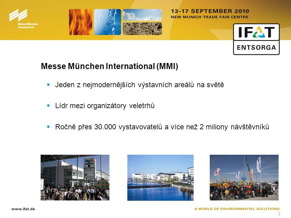 2 Messe München International (MMI)  Jeden z nejmodernějších výstavních areálů na světě  Lídr mezi organizátory veletrhů  Ročně přes 30.000 vystavovatelů a více než 2 miliony návštěvníků