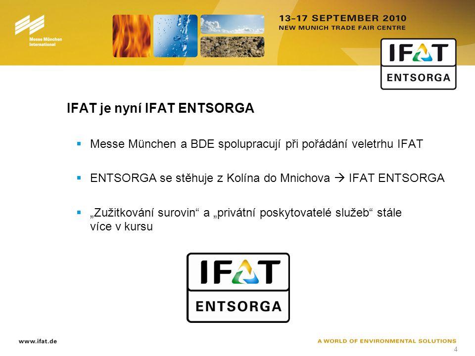 """4 IFAT je nyní IFAT ENTSORGA  Messe München a BDE spolupracují při pořádání veletrhu IFAT  ENTSORGA se stěhuje z Kolína do Mnichova  IFAT ENTSORGA  """"Zužitkování surovin a """"privátní poskytovatelé služeb stále více v kursu"""
