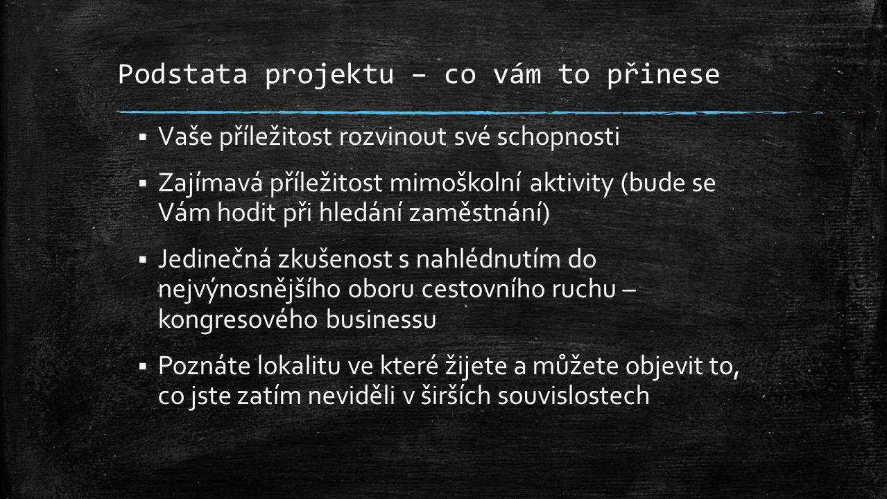 """Podstata projektu – co vám to přinese  Navážete zajímavé kontakty, které můžete dále prohlubovat a poté je využít při hledání zaměstnání ve Varech  Vaše jméno se ve spojení s tímto projektem vtiskne do podvědomí učitelů, obchodníků, manažerů, ředitelů, vedoucích pracovníků, personalistů a všech, kteří se setkají s MICE mapou  Zaručujeme distribuci výsledného projektu po celé České republice – vaše pozice na trhu práce může rapidně stoupnout v rámci celého území  Projekt se stane nesmrtelným a nikdy """"nezapadne do šuplíku  Zajímavá finanční odměna výhercům soutěže + možnost stáže či brigády pro nejlepší ze skupiny"""