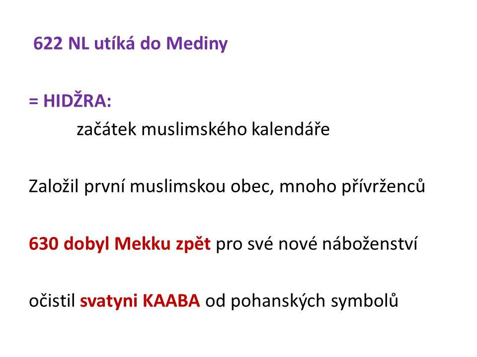 622 NL utíká do Mediny = HIDŽRA: začátek muslimského kalendáře Založil první muslimskou obec, mnoho přívrženců 630 dobyl Mekku zpět pro své nové náboženství očistil svatyni KAABA od pohanských symbolů