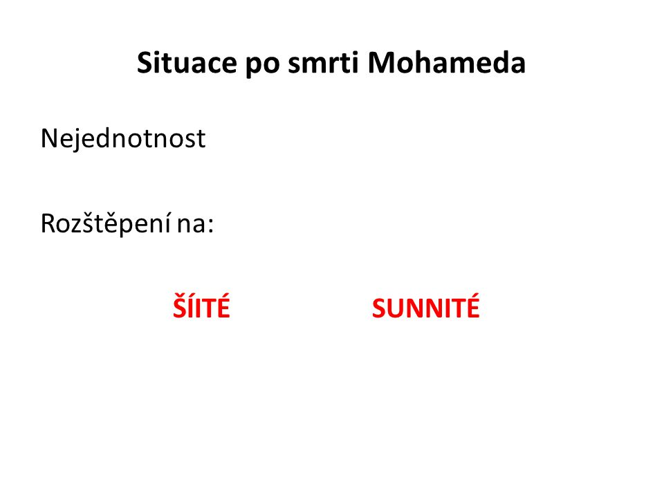 Situace po smrti Mohameda Nejednotnost Rozštěpení na: ŠÍITÉSUNNITÉ