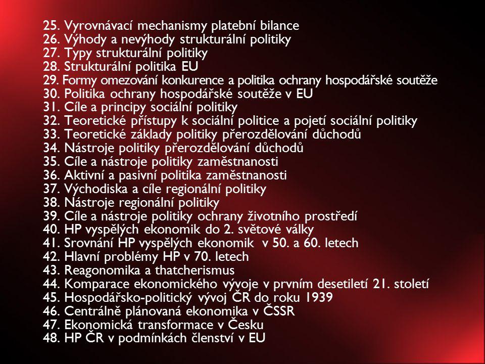 25. Vyrovnávací mechanismy platební bilance 26. Výhody a nevýhody strukturální politiky 27. Typy strukturální politiky 28. Strukturální politika EU 29