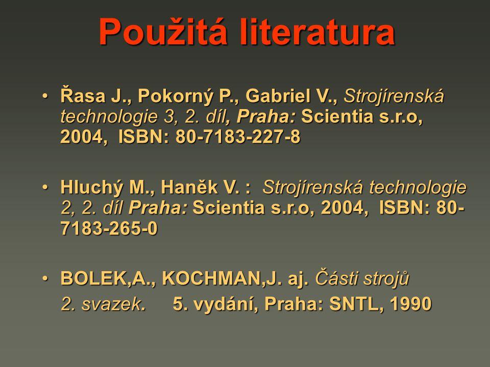 Řasa J., Pokorný P., Gabriel V., Strojírenská technologie 3, 2. díl, Praha: Scientia s.r.o, 2004, ISBN: 80-7183-227-8Řasa J., Pokorný P., Gabriel V.,