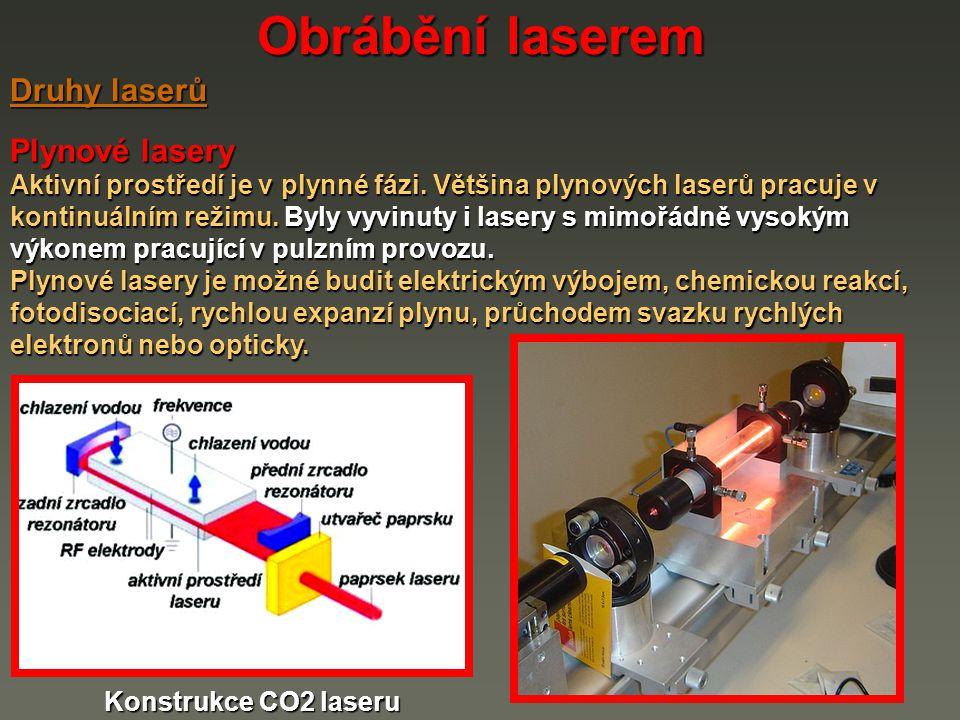 Obrábění laserem Plynové lasery Aktivní prostředí je v plynné fázi. Většina plynových laserů pracuje v kontinuálním režimu. Byly vyvinuty i lasery s m