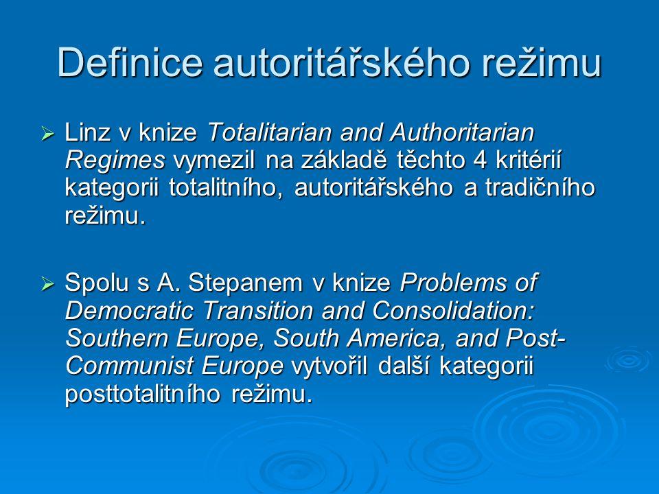 Definice autoritářského režimu  Linz v knize Totalitarian and Authoritarian Regimes vymezil na základě těchto 4 kritérií kategorii totalitního, autoritářského a tradičního režimu.