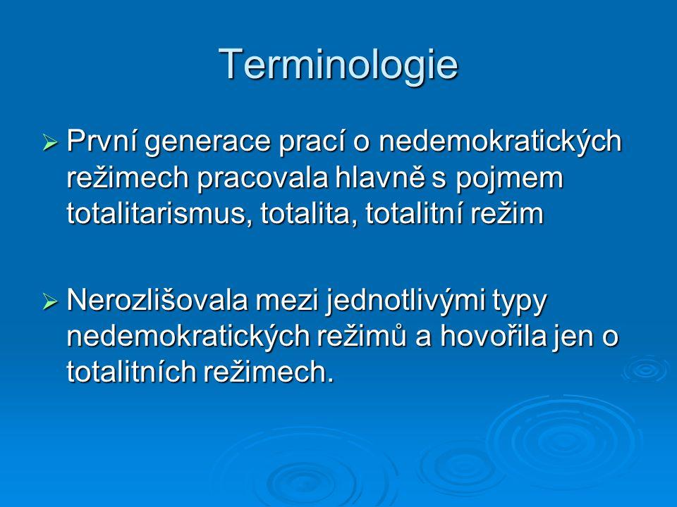 Terminologie  Hlavní autoři a díla: H.Arendtová (1951): Původ totalitarismu I.-III H.