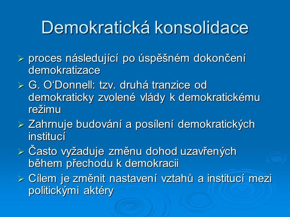Demokratická konsolidace  proces následující po úspěšném dokončení demokratizace  G.