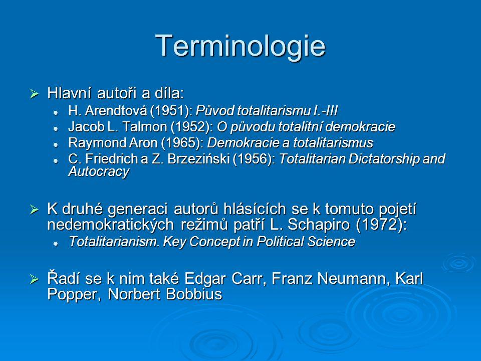 Terminologie  Společná myšlenka: Podstatou totalitarismu je totalitní myšlení.