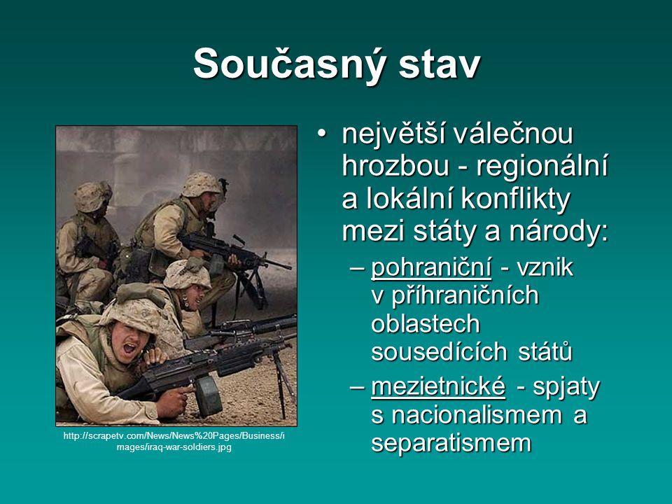 Současný stav největší válečnou hrozbou - regionální a lokální konflikty mezi státy a národy:největší válečnou hrozbou - regionální a lokální konflikt
