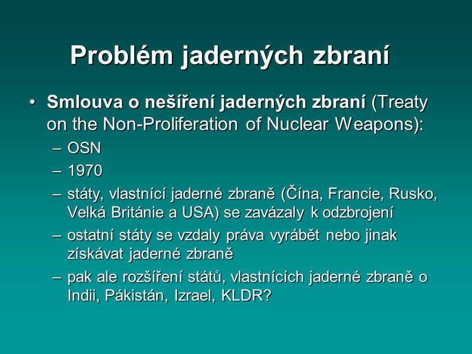 Problém jaderných zbraní Smlouva o nešíření jaderných zbraní (Treaty on the Non-Proliferation of Nuclear Weapons):Smlouva o nešíření jaderných zbraní