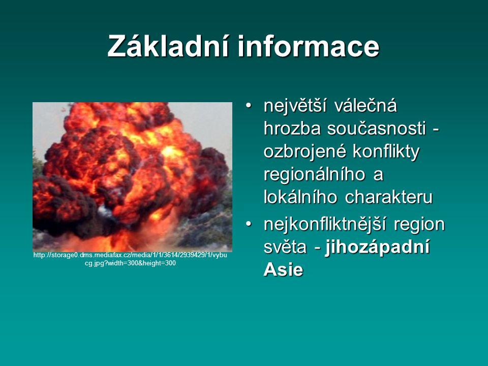 Základní informace největší válečná hrozba současnosti - ozbrojené konflikty regionálního a lokálního charakterunejvětší válečná hrozba současnosti -